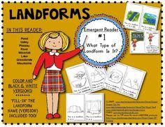 LANDFORMS: Emergent Reader Book #1: What Type of Landform Is It? Social Studies for Kindergarten or First Grade. $