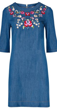 """Folk embroidered dress by Oliver Bonas - read """"Embroidered Boho Tops, Dresses, More"""" - (article) -  http://boomerinas.com/2014/01/24/embroidered-boho-tops-dresses-more-2014-trends/"""
