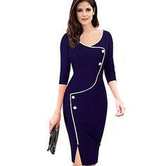 Women's+Plus+Size+Vintage+Color+Block+Bodycon+Pencil+Dress+–+USD+$+17.99