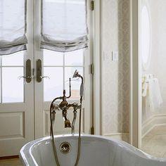 relaxed roman shade (sheers) on door