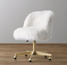 RH baby&child's Alessa Kashmir Faux Fur Desk Chair - Antiqued Brass:All work… Girls Desk Chair, White Desk Chair, Girl Desk, Girl Room, Girls Bedroom, White Fur Chair, Desk Chair Comfy, Work Chair, Kids Desk Chairs