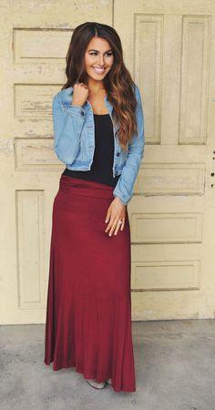 Dottie Couture Boutique - Jersey Maxi Skirt- Maroon , $24.00 (http://www.dottiecouture.com/jersey-maxi-skirt-maroon/)