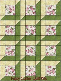 Katelyn\'s Garden Red Rooster Pink Roses Sage Green Attic Window Shabby Chic Floral Flowers Easy Pre-Cut Quilt Blocks Top Kit