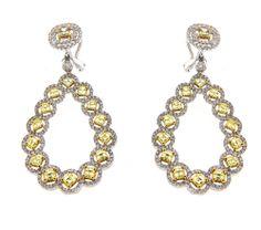 Diamond Drop Earrings with Yellow Diamonds #yellowdiamonds #yellowdiamondearrings #diamondearrings #diamonds #whiteandyellowdiamonds #diamonddropearrings #womensfashion #womensjewelry #diamondjewelry
