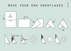 Make your own snowflakes Winter Crafts For Kids, Easy Christmas Crafts, Christmas Paper, All Things Christmas, Simple Christmas, Winter Christmas, Christmas Time, Christmas Decorations, Snowflake Template