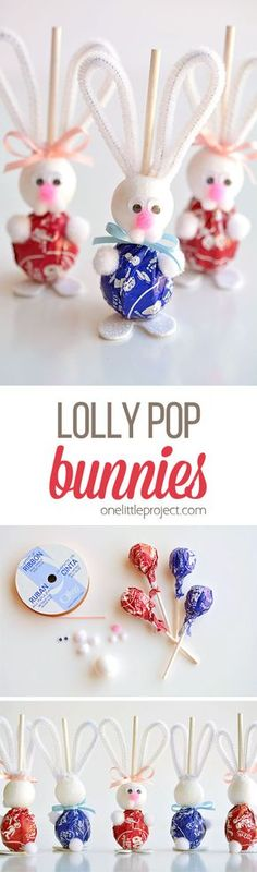 These lolly pop bunnies are SO CUTE and they're really simple to make! They're adorable treats for an Easter basket, or even for the Easter table! Such a fun spring craft idea!