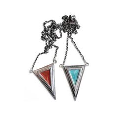 "Pamela Love Silver Pyramid Pendant ($460) found on Polyvore  Single silver triangle pendant with either turquoise or red jasper inlay. Pendant measures 1 1/8"" across and 1 3/4"" long. Chain measures 9 1/5"" from each side of the pendant with a lobster closure in back. Made in NYC."