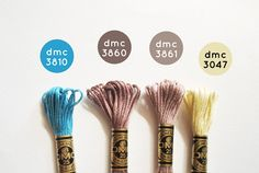 a color palette inspired by the wind in the willows Embroidery Floss Projects, Dmc Embroidery Floss, Diy Embroidery, Cross Stitch Embroidery, Diy Bracelets Easy, Thread Bracelets, Cross Stitch Floss, Cross Stitch Patterns, Friendship Bracelets Designs