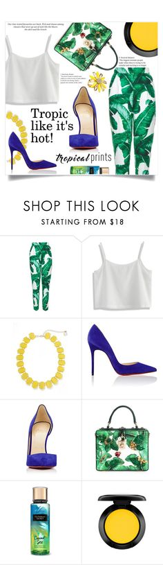 """Untitled #300"" by natalie1523 ❤ liked on Polyvore featuring Dolce&Gabbana, Chicwish, Erica Lyons, Christian Louboutin, MAC Cosmetics, Kate Spade, H&M, tropicalprints and hottropics"