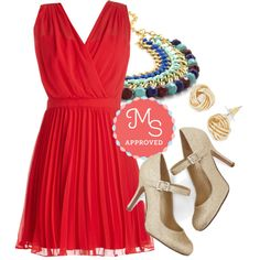 In this outfit: Sashay into Sunset Dress, Bright Across the Way Necklace, Oh Why Knot? Earrings, Yes I Candescent Heel in Gold #partydress #red #datenight #gold