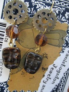 Steampunk Crystal Glass Face Earrings by jansbeads on Etsy