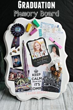 This graduation memory board is a simple DIY craft to display high school or college memories. A great personalized graduation gift! #ShutterflyGrad #ad @shutterfly