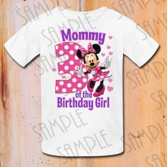 Disney Minnie Mouse Iron On Transfer Mommy of the Birthday Girl digital download Personalized printable DIY Mickey Disney Family Trip shirts