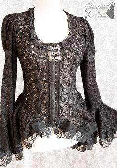 Victorian Steampunk lace blouse black gothic by SomniaRomantica