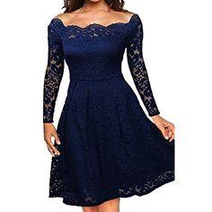 ec15da0886 Amazon.com  Miusol Women s Vintage Square Neck Floral Lace 2 3 Sleeve  Cocktail Swing Dress  Clothing