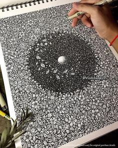 Life reaching out by Visoth Kakvei Zentangle Drawings, Mandala Drawing, Zentangle Patterns, Mandala Art, Zentangles, Black White Art, Black And White Drawing, Illusion Drawings, Art Inspiration Drawing