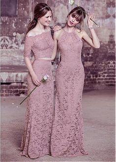 Charming Lace Off-the-shoulder Neckline Two-Piece Sheath Bridesmaid Dress