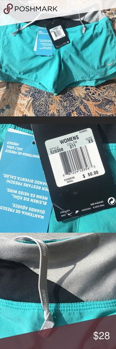 NWT NIKE RUNNING SHORTS Brand new. Dri fit style. Aqua blue with black and grey trim. Fits true to size. Nike Shorts