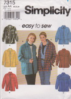 Simplicity Sewing Pattern 7315 Misses Size 6-16 Easy Zipper Button Front Long Sleeve Jacket   Simplicity+Sewing+Pattern+7315+Misses+Size+6-16+Easy+Zipper+Button+Front+Long+Sleeve+Jacket