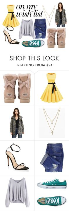 """""""My Christmas Wish"""" by bjeffrey-1 ❤ liked on Polyvore featuring UGG, Velvet, LOFT, Gianvito Rossi and Converse"""