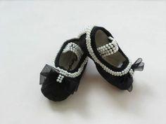 Black Ballet Shoes Swarovski Crystal Baby Shoes by Minimajesty 0c275a06c6