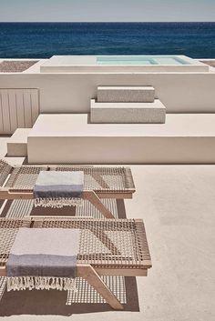 Swimming pool and deck at Istoria hotel, Santorini, Greece Design Hotel, House Design, Lobby Design, Outdoor Spaces, Outdoor Living, Outdoor Decor, Outdoor Furniture, Exterior Design, Interior And Exterior