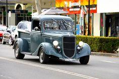 1935 Ford pickup cruising.