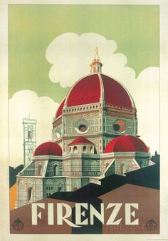 Firenze Cupola (Florence Dome) Italian Vintage Style Travel Poster Poster at AllPosters.com