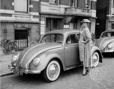Classic VW beetle & woman