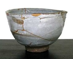 "Rob Barnard TEA BOWL, woodfired stoneware, limestone glaze and gold lacquer repair, 3.5""h x 5""w"