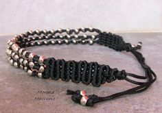 Girocollo nero collana macrame nera mTotal metal di morenamacrame Total metal #black necklace, macrame necklace , dark jewelry, gift for woman, made in italy crew neck  I made this #necklace with many small #knots #macrame, color is one of my favorite, suitable for the winter season arrives.