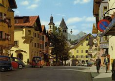 Pretty card from Austria / Österreich, Tyrol / Tirol, Kitzbühel, featuring VW Beetle / Käfer + Bus and ultrarare FORD Taunus Turnier, some motorbikes and . Volkswagen, Pretty Cards, Mk1, Vw Beetles, Austria, Porsche, Ford, Street View, History