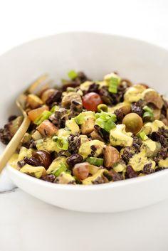Black Rice Crunch Salad with Creamy Curried Cashew Dressing (vegan, gf)