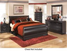 Ashley Huey Vineyard 4-Piece Bedroom Set with Queen Size Sleigh Bed Dresser Mirror and Nightstand in -- You can get more details by clicking on the image.