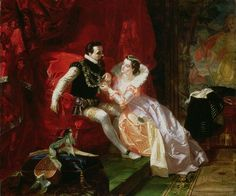 Robert and Amy Dudley, as imagined by the painter Edward Matthew Ward in 1866. Sir Walter Scott's 1821 novel Kenilworth established Amy Robsart as a tragic, romantic heroine.