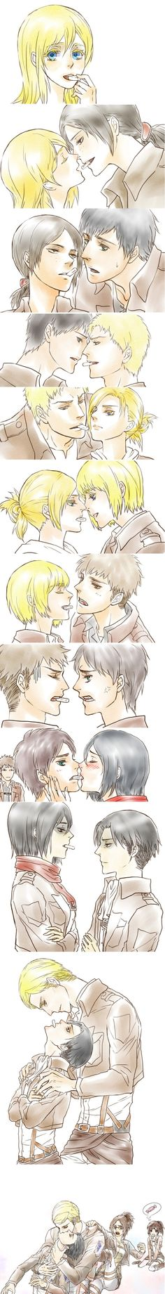 Attack on Titan..... I don't ship lots of them, like Mikasa x Eren or Erwin x Levi but this pic totally cute :)