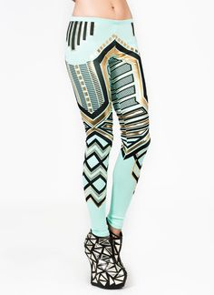 metallic geometric leggings