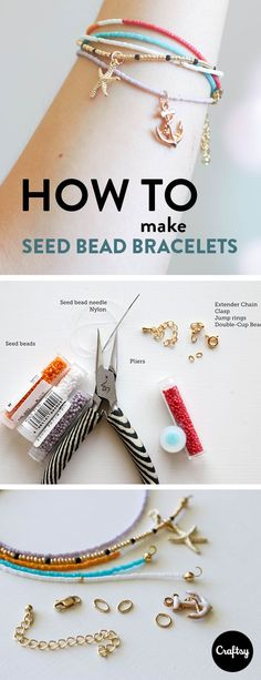 These cute and trendy stackable seed bracelets will look great on your mom's wrist. Get the tutorial at Craftsy and make a personalized piece of jewelry for Mother's Day. #cuteankletsdiy