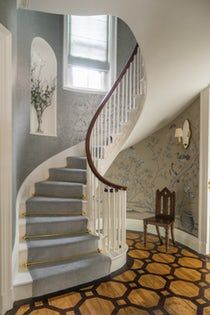 Beacon Hill Foyer with Painted Marquetry Floor and Spiral Staircase  Foyer  Staircase  Architectural Detail  Georgian  Architectural Details  TraditionalNeoclassical by Kristin Paton Interiors