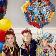 A birthday favorite meets the Paw Patrol team! Our official Paw Patrol pinata features pull strings for a easy and safe birthday activity!