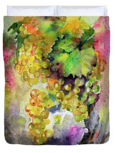 White Wine Grapes Vineyard Watercolor Painting Queen Duvet Cover by Ginette Callaway.  Available in king, queen, full, and twin.  Our soft microfiber duvet covers are hand sewn and include a hidden zipper for easy washing and assembly.  Your selected image is printed on the top surface with a soft white surface underneath.  All duvet covers are machine washable with cold water and a mild detergent.