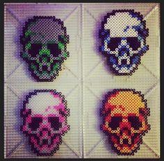 Skull coaster set perler beads by Strider