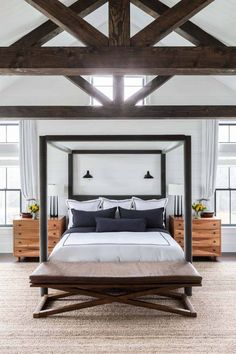 Eclectic modern farmhouse with unexpected pops of color in New York Crisp Architects along with Change & Co. designed this eclectic modern farmhouse as a weekend retreat for a young family in upstate New York. Trendy Bedroom, Modern Bedroom, Master Bedrooms, Girls Bedroom, Narrow Bedroom, Tiny Bedrooms, White Bedrooms, Home Interior, Interior Design