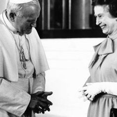 Pope John Paul II visit the Queen Elizabeth II at Buckingham Palace, 1982