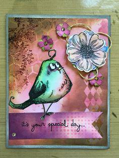 Distressed birthday card with Tim Holtz bird crazy bird stamp and distress inks.