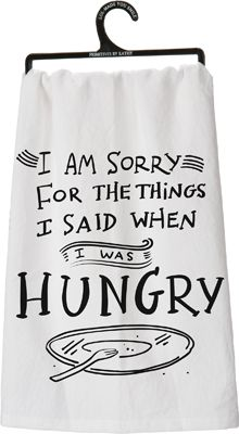I am sorry for the things I said when I was hungry tea towel from Primitives by Kathy. Dish Towels, Tea Towels, Hand Towels, Shilouette Cameo, Forks Design, Flour Sack Towels, Flour Sacks, Humor Grafico, Cricut Creations