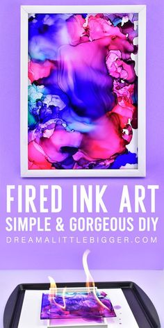 You don\'t have to be an artist to make this stunningly gorgeous DIY fired ink art! Learn how to make these colorful and totally unique DIY paintings! Diy Projects For Adults, Diy Projects To Sell, Craft Tutorials, Craft Projects, Crafts For Kids, Craft Ideas, Diy Ideas, Homemade Alcohol, Alcohol Ink Crafts
