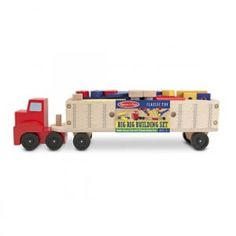 Melissa & Doug's Big Rig Vehicle Toy features a wooden building set and a play truck in the same playset. Manufactured by Melissa & Doug. Big Rig Trucks, Toy Trucks, Toddler Gifts, Gifts For Kids, Wooden Playset, Wooden Truck, Wooden Buildings, Construction Birthday, Games For Toddlers