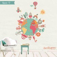 vinilos infantiles te tela remobibles Ideas Habitaciones, Art Projects, Projects To Try, Happy Earth, Class Decoration, Baby Room Decor, Art For Kids, Decorative Plates, Clip Art