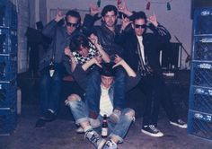 """The 1/2Fast Five / also known as the Board of Directors, Ox Cassettes, at the """"Habit of Decision"""" 'release' party at Nightbreak, circa 1985.  front: RIch Ferguson.  Back, l to r: Junglebook, Jim Hoadley, Johnny Loud, Dave Brian"""